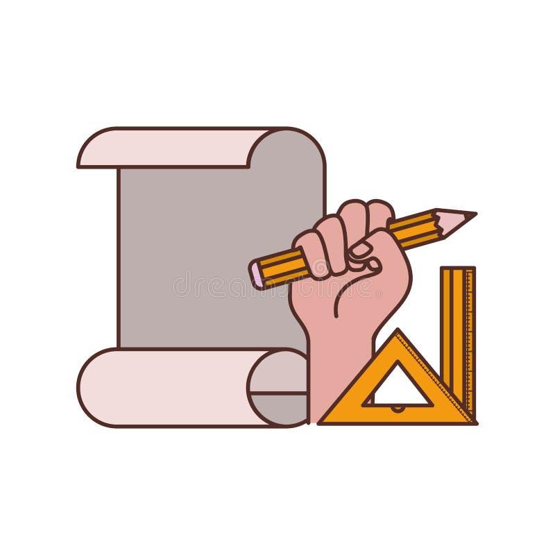 Mano con el icono aislado plan de la construcción libre illustration