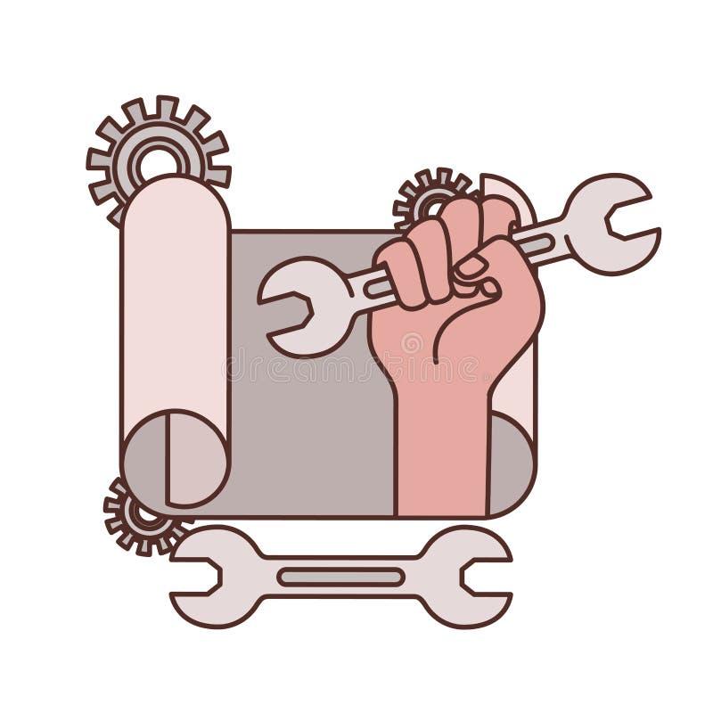 Mano con el icono aislado plan de la construcción ilustración del vector