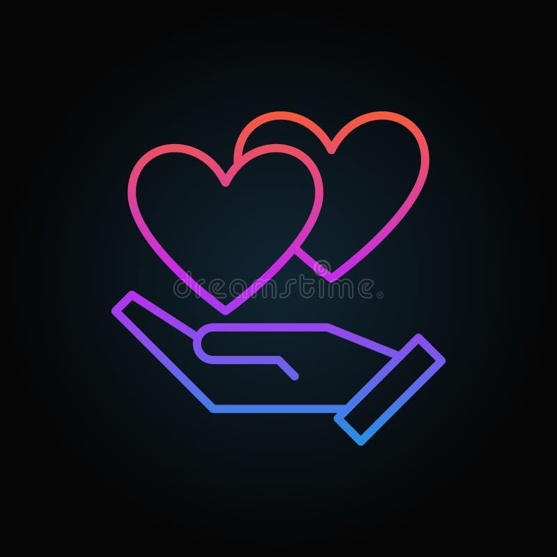 Mano con el icono coloreado vector de los corazones en la línea estilo fina libre illustration