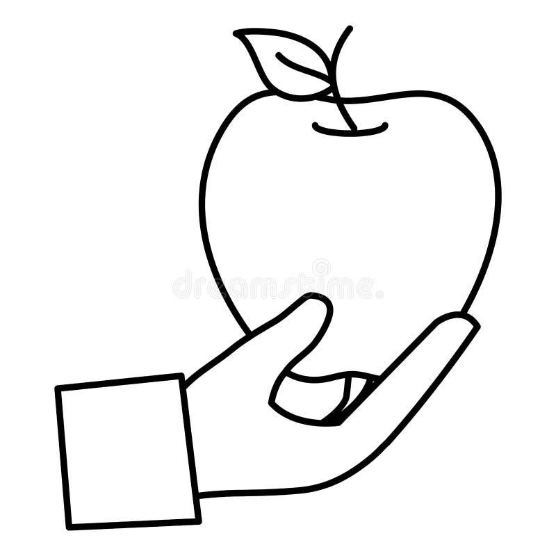 Mano con el icono de la fruta fresca de la manzana ilustración del vector