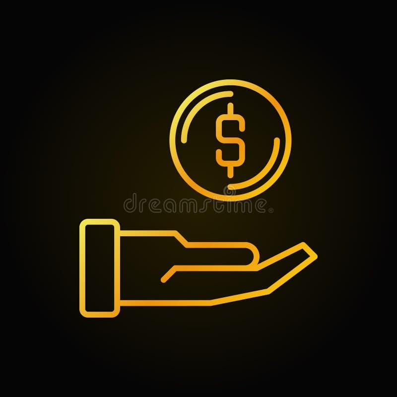 Mano con el icono o el logotipo de oro del esquema de la donación del vector de la moneda stock de ilustración