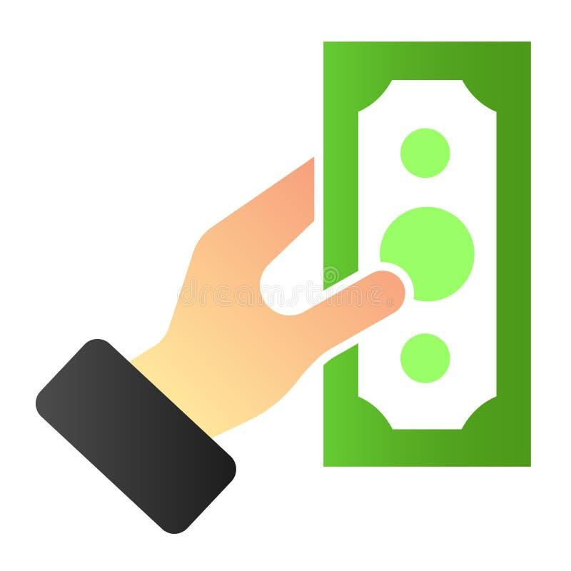 Mano con el icono plano del dinero Iconos disponibles del color del d?lar en estilo plano de moda Dinero en el diseño del estilo  libre illustration