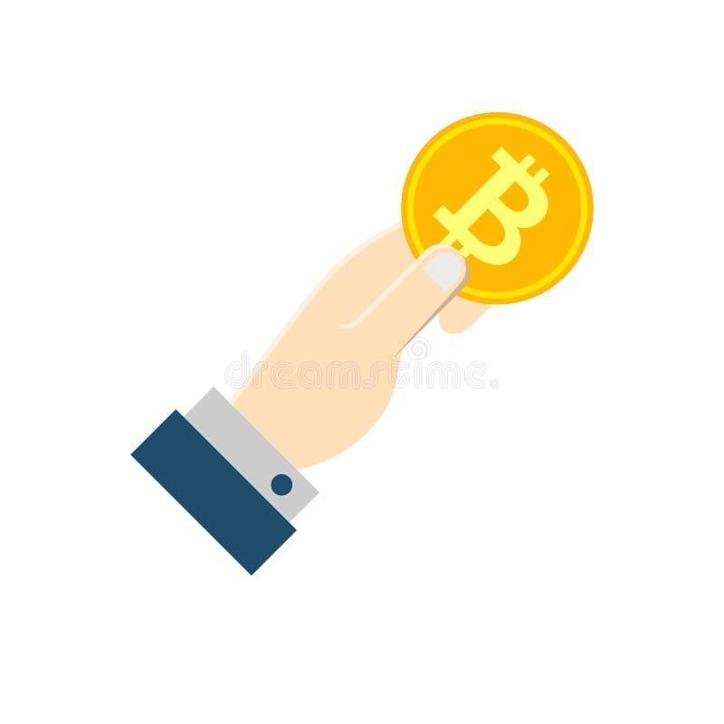 Mano con el icono plano del vector de Bitcoin libre illustration