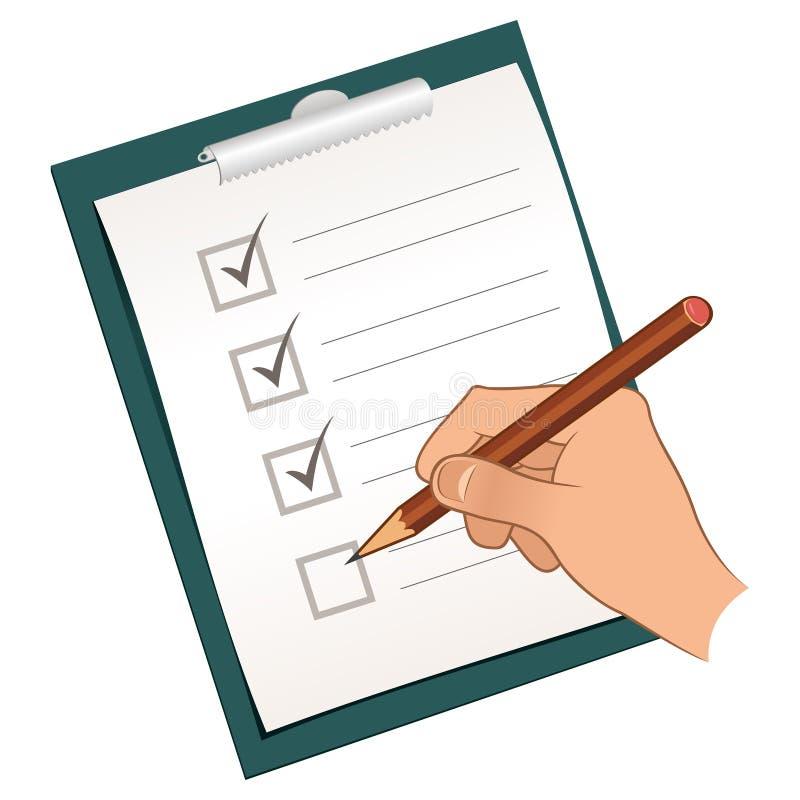 Mano con el lápiz que marca una lista de verificación libre illustration