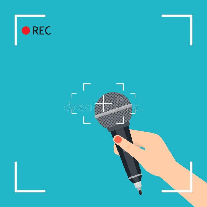 Mano con el micrófono libre illustration