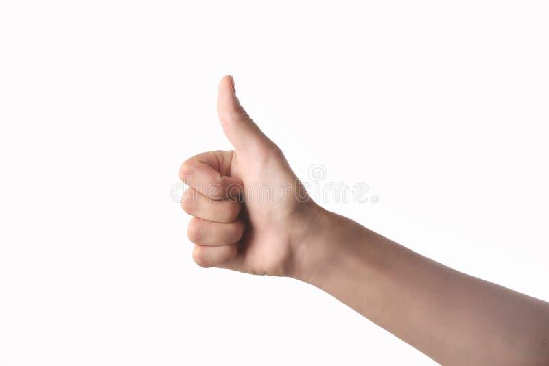 Mano con el pulgar para arriba aislado en blanco imagen de archivo