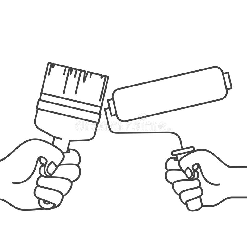 Mano con el rodillo de la brocha y de pintura stock de ilustración
