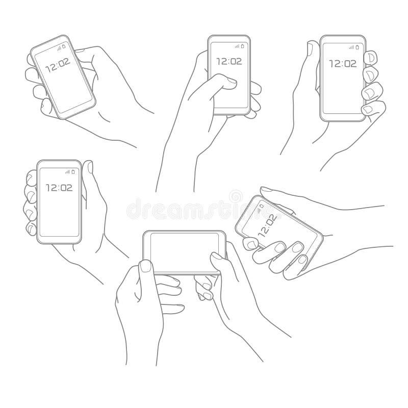 Mano con el sistema del vector del teléfono ilustración del vector