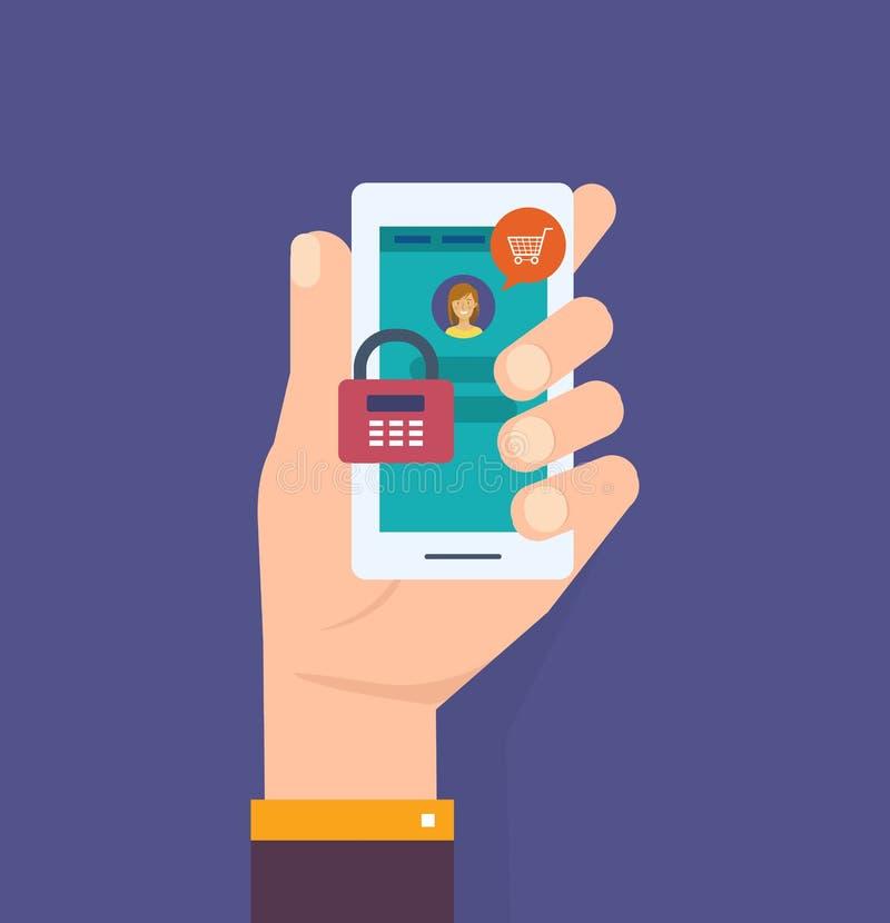 Mano con el smartphone desbloqueado con la notificación de la contraseña, seguridad del teléfono móvil ilustración del vector