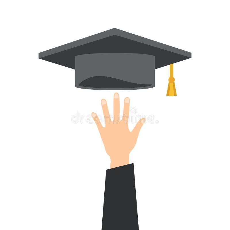 Mano con el sombrero de la graduación en el ejemplo blanco, común del vector libre illustration