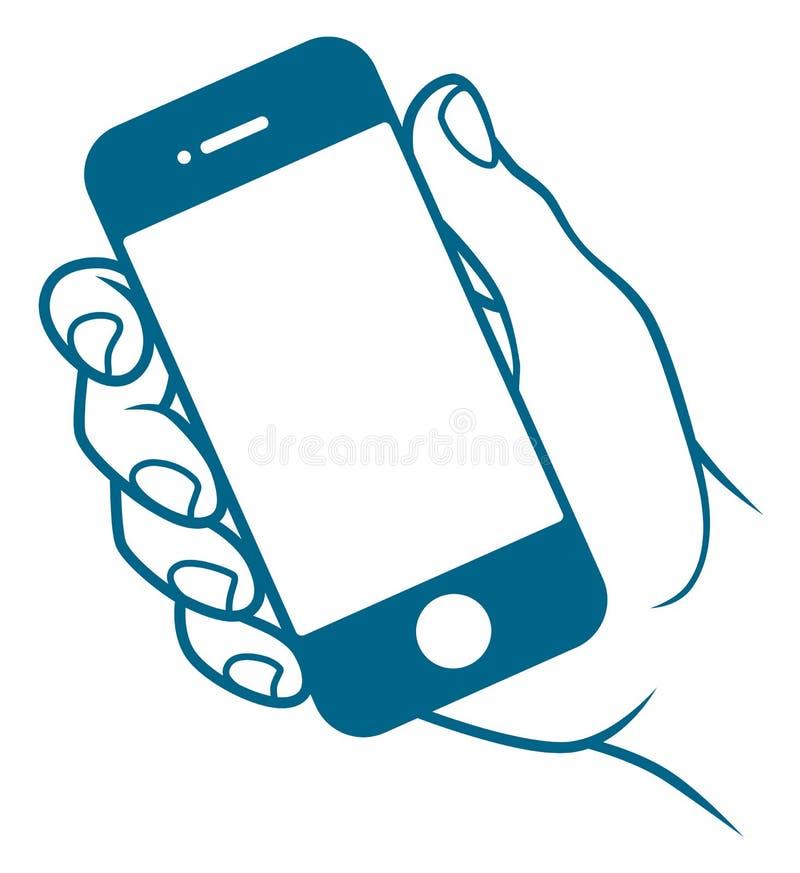 Mano con el teléfono móvil ilustración del vector