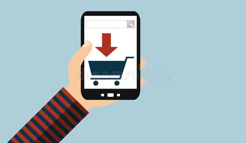 Mano con el teléfono móvil: Búsqueda y compra - diseño plano libre illustration