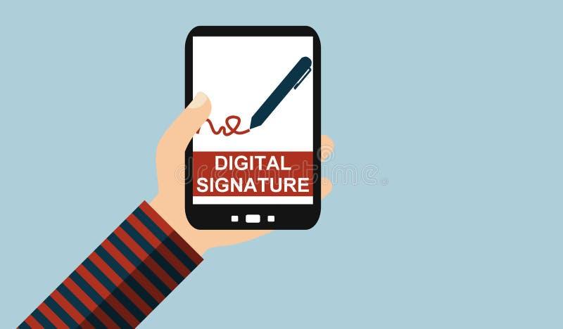 Mano con el teléfono móvil: Firma digital - diseño plano libre illustration