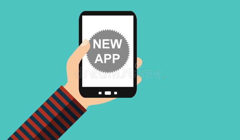 Mano con el teléfono móvil: Nuevo App - diseño plano stock de ilustración