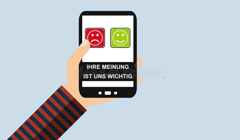 Mano con el teléfono móvil: Su opinión importa alemán - diseño plano libre illustration