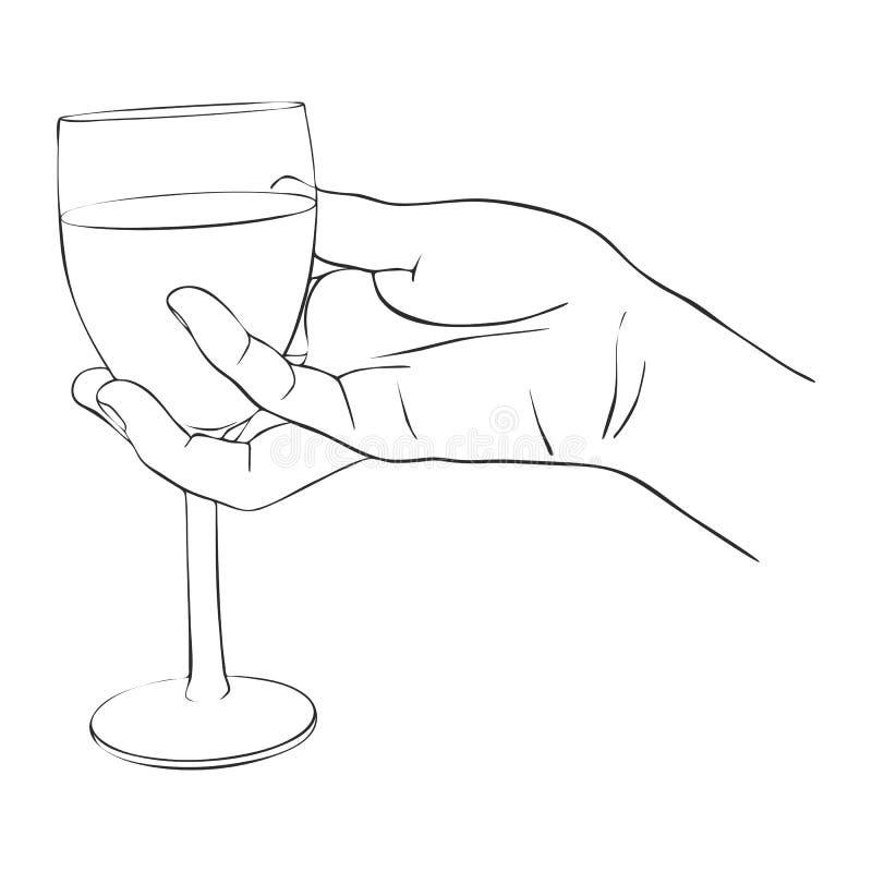 Mano con el vidrio de vino stock de ilustración
