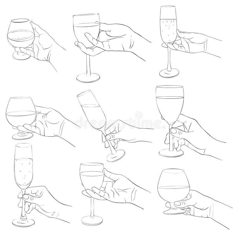 Mano con el vidrio del coñac stock de ilustración