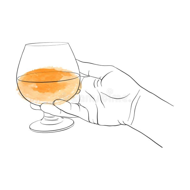 Mano con el vidrio del coñac libre illustration