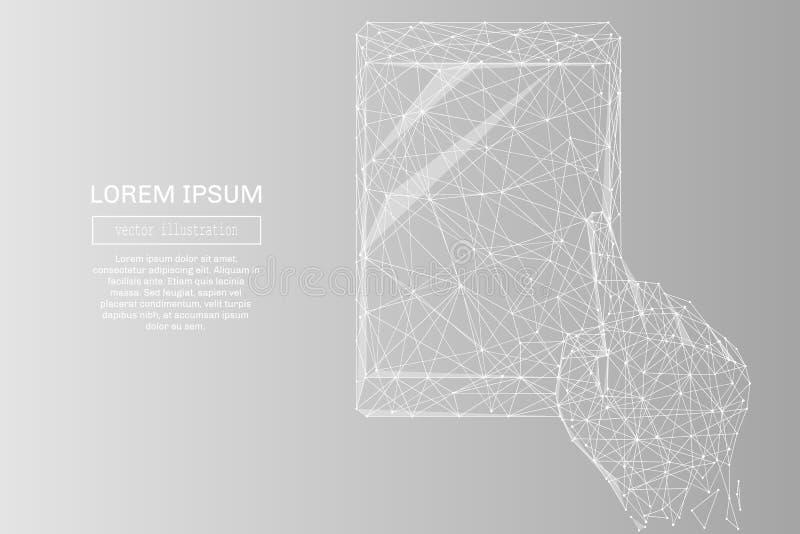 Mano con gris de la tableta ilustración del vector