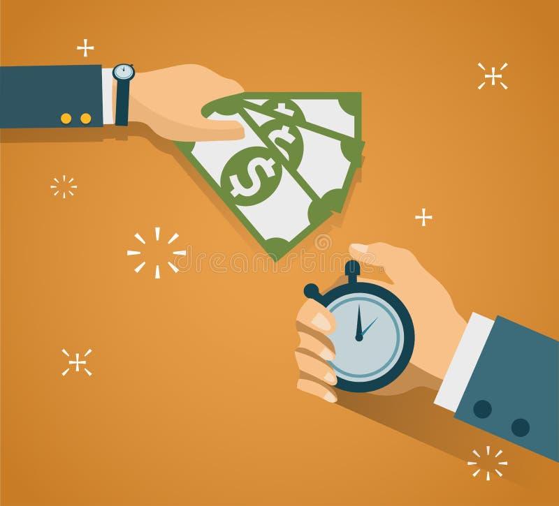 Mano con i contanti della mano e del cronometro Metodi di pagamento, affare illustrazione di stock