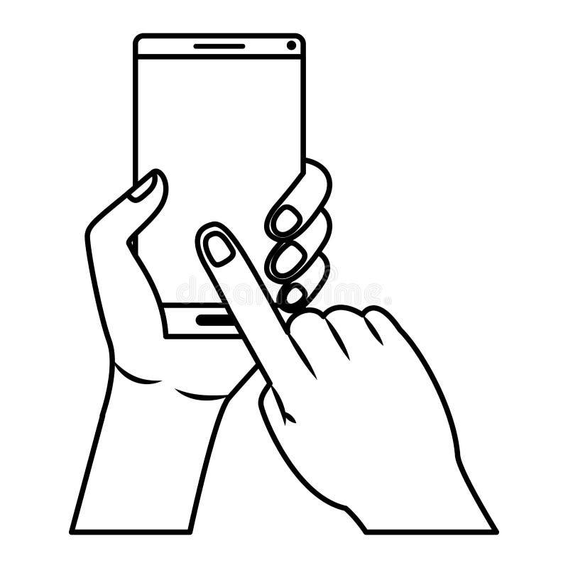 Mano con il dispositivo dello smartphone illustrazione di stock
