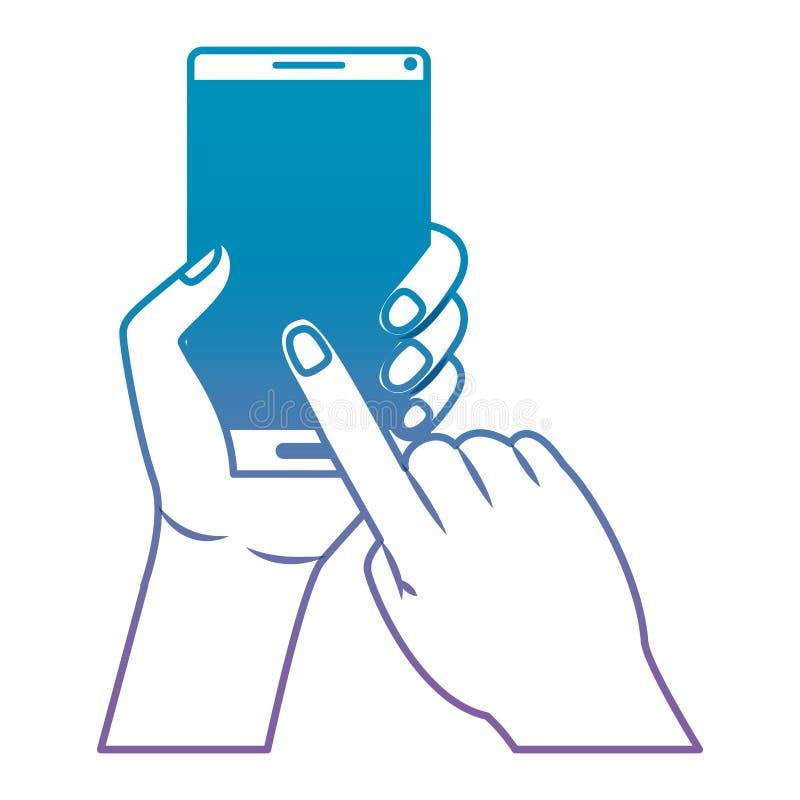 Mano con il dispositivo dello smartphone illustrazione vettoriale