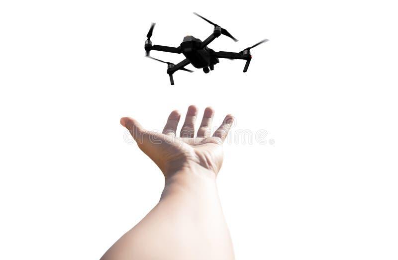Mano con il fuco di Quadcopter fotografie stock libere da diritti