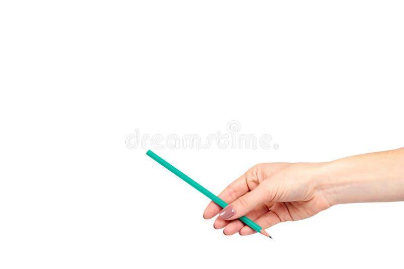 Mano con il gesto della matita, del disegno o del writinng fotografie stock