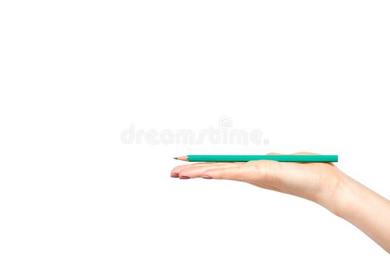 Mano con il gesto della matita, del disegno o del writinng fotografie stock libere da diritti