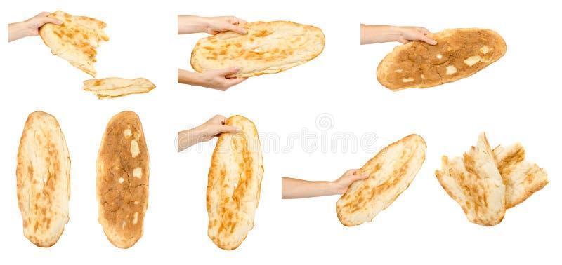 Mano con il pane, l'insieme e la raccolta del lavash immagine stock