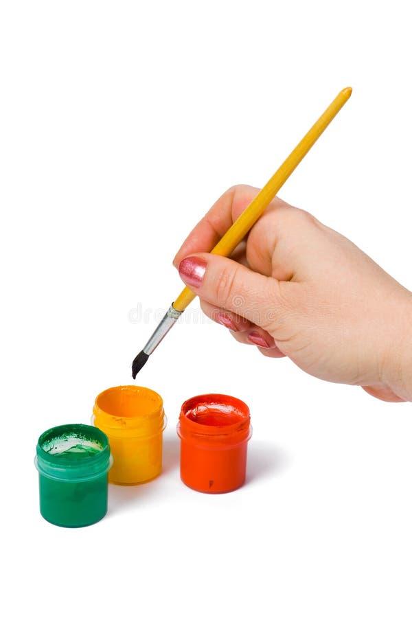 Download Mano con il pennello fotografia stock. Immagine di spazzola - 3879048