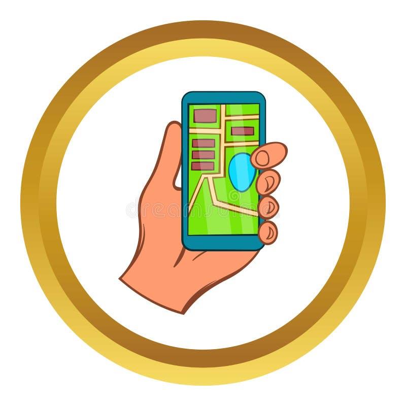 Mano con l'icona di vettore del navigatore di GPS dello smartphone illustrazione di stock