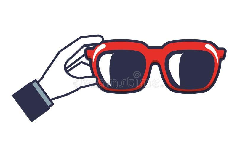 Mano con l'icona isolata estate degli occhiali da sole royalty illustrazione gratis