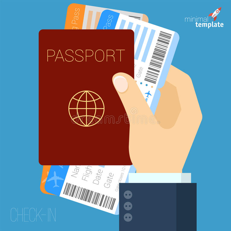 Mano con l'icona piana dei biglietti di aria e del passaporto illustrazione vettoriale