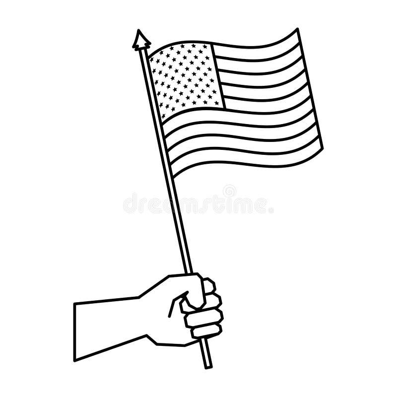Mano con la bandera de los Estados Unidos de América ilustración del vector