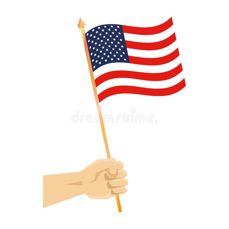 Mano con la bandera de los Estados Unidos de América stock de ilustración