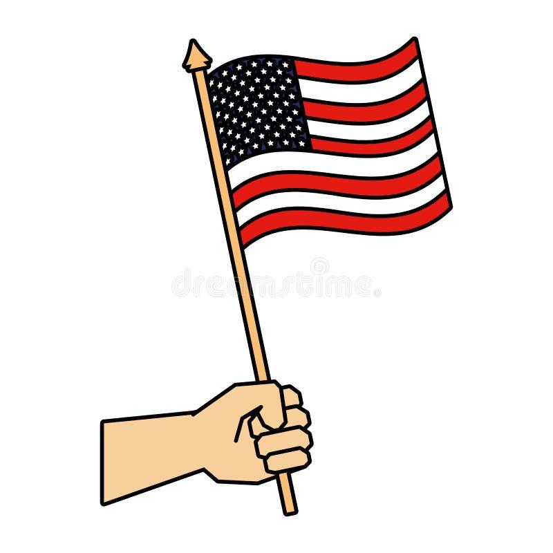 Mano con la bandera de los Estados Unidos de Am?rica ilustración del vector