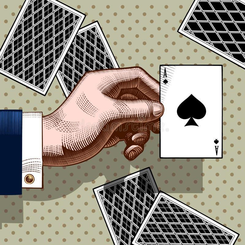 Mano con la carta da gioco dell'asso di picche Engravin d'annata di colore illustrazione vettoriale