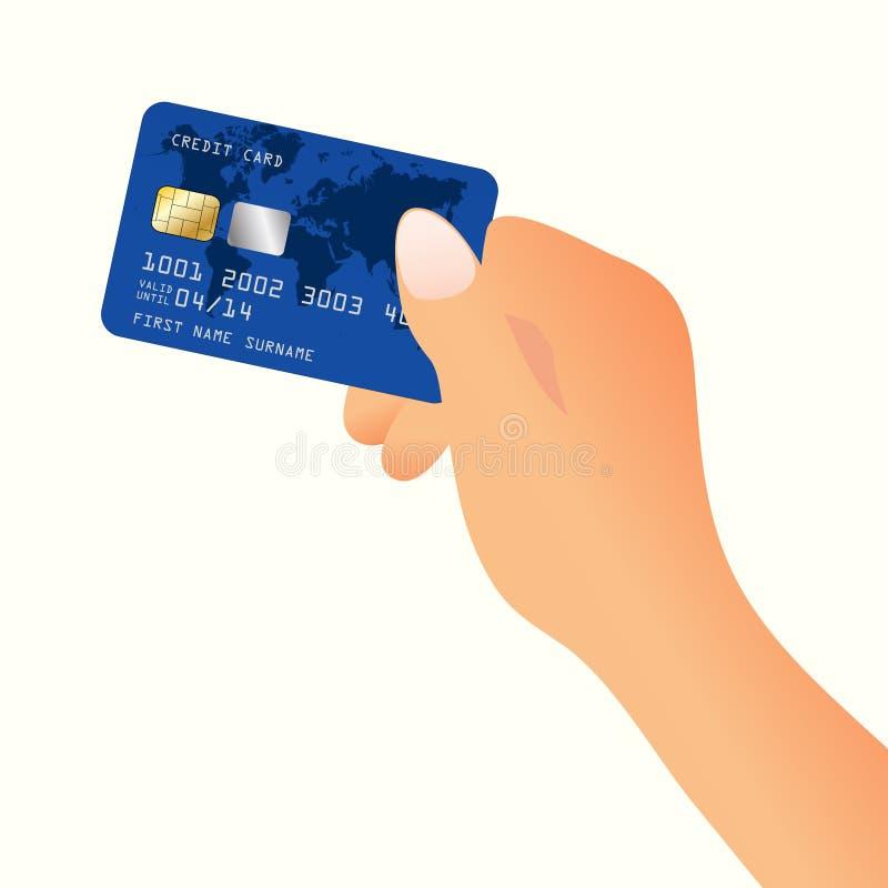 Mano con la carta di credito illustrazione vettoriale