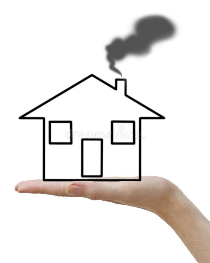 Mano con la casa nera di concetto immagine stock for Aprire case di concetto