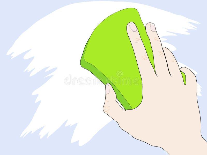 Mano con la esponja stock de ilustración