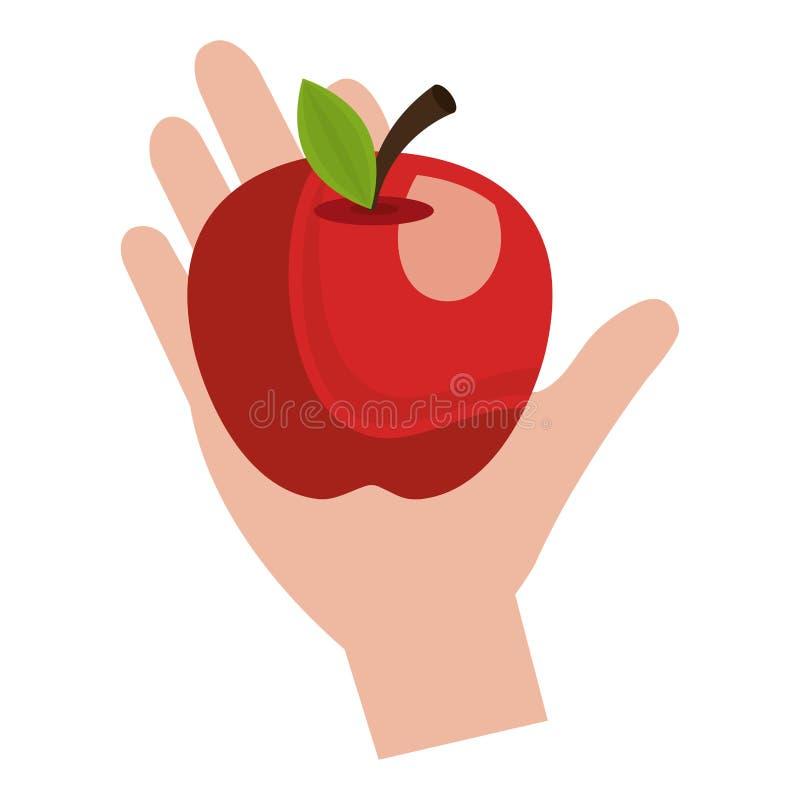 Mano con la manzana fresca ilustración del vector
