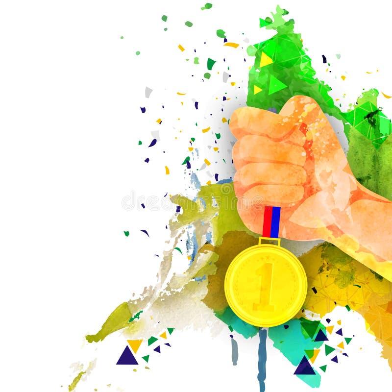 Mano con la medalla de oro para el concepto de los Juegos Olímpicos ilustración del vector