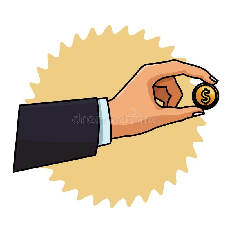 Mano con la moneda stock de ilustración