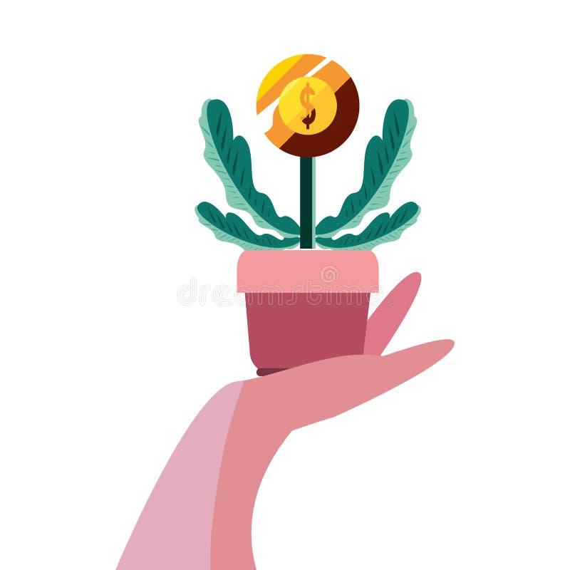 Mano con la moneda de la planta libre illustration