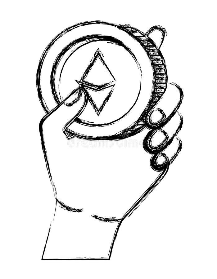 Mano con la moneda del etherum libre illustration
