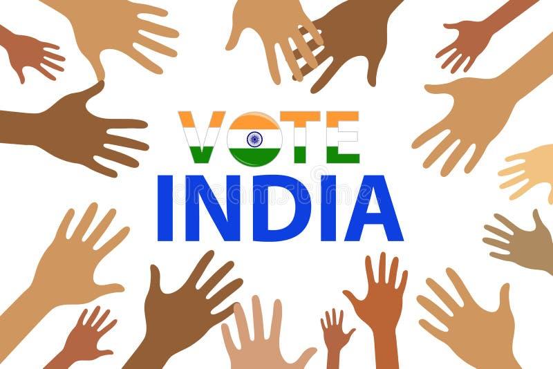 Mano con la muestra de votación, diseño 2019, concepto de concepto de la elección de la India del voto de la elección de la India ilustración del vector