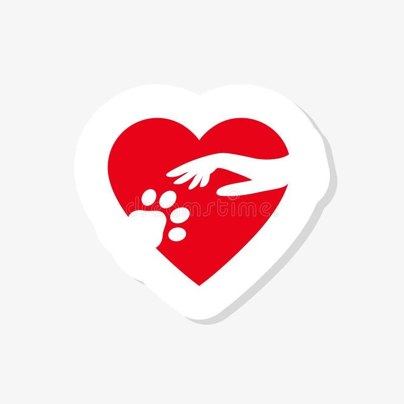 Mano con la pata del perro en icono de la etiqueta engomada del corazón Concepto de amor su perro stock de ilustración