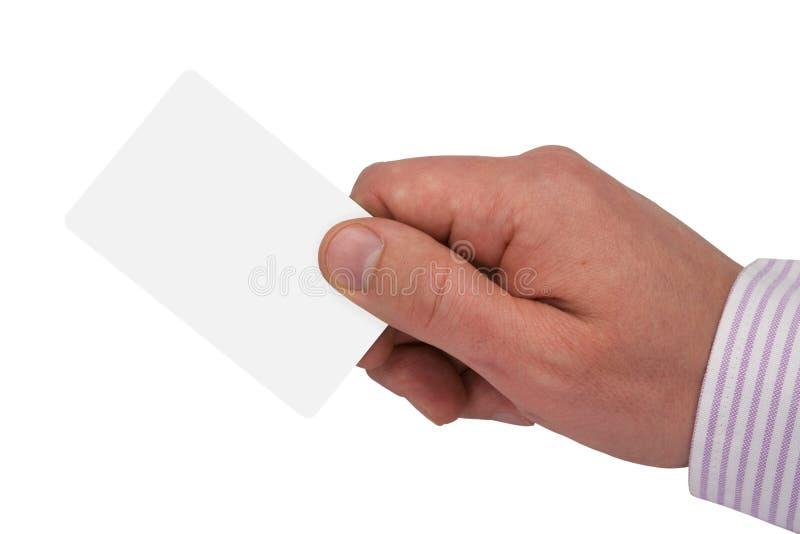 Mano con la scheda in bianco bianca fotografia stock