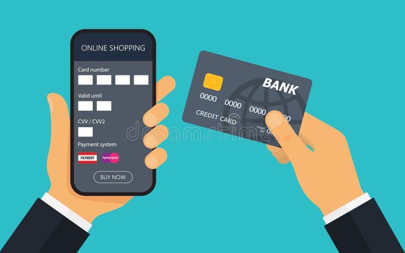 Mano con la tarjeta de crédito para el pago Pago móvil libre illustration